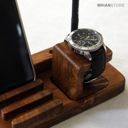 ست رومیزی چوبی جا موبایلی و ساعت