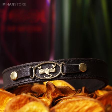 دستبند چرم طرح ماه تولد