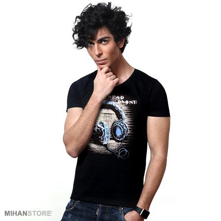 تی شرت مردانه طرح هدفون (مشکی)